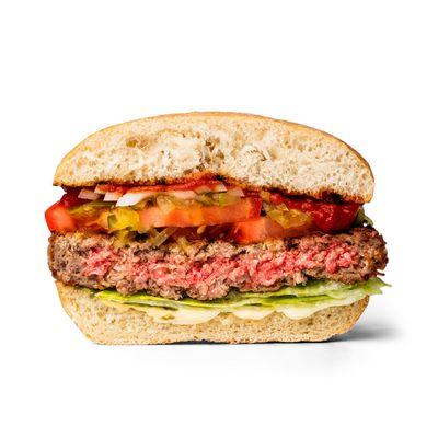 Hamburger di carne vegana rifatta in laboratorio mega uguale